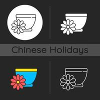 Chrysanthemum tea dark theme icon vector