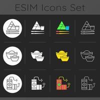 China national holidays dark theme icons set vector