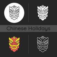 Dragon dance dark theme icon vector