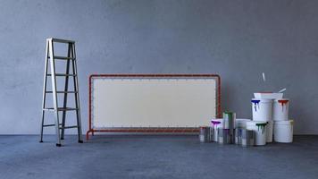pintar la pared en una habitación vacía foto