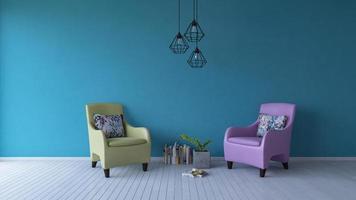 Sofá de color pastel de renderizado 3D sobre piso de madera foto