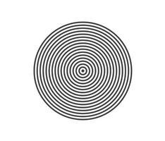 elemento de círculo concéntrico. anillo de color blanco y negro. Ilustración de vector abstracto para onda de sonido, gráfico monocromo.