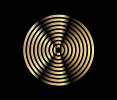 elemento de círculo concéntrico. anillo de oro de color lujoso. Ilustración de vector abstracto para onda de sonido, gráfico dorado, decoración moderna para sitios web, carteles, pancartas, vector de plantilla eps10
