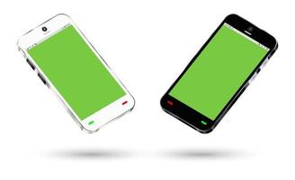 side view of a smartphone with a green screen vector