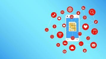 teléfono inteligente y tarjeta sim con iconos de aplicaciones flotantes vector