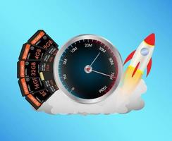 tarjeta de memoria sd y micro sd con velocímetro y cohete de juguete vector