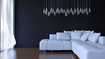 interior de la sala de estar, representación 3d foto