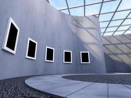 Representación 3D de marco de fotos en pared curva en galería moderna.