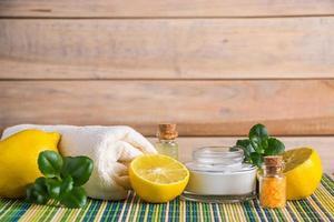 Eco cosmetics with lemon oil photo