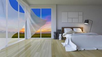 Representación 3D de dormitorio moderno en la hora del atardecer foto