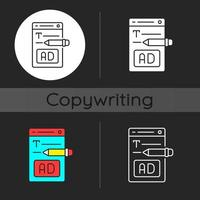 Writing text ads dark theme icon vector