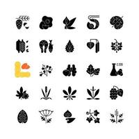 Allergy cause black glyph icons set on white space vector