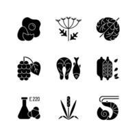 Allergy danger black glyph icons set on white space vector