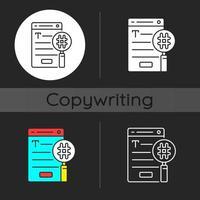 SEO copywriting dark theme icon vector