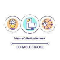 icono de concepto de red de recogida de residuos electrónicos vector