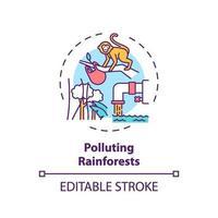 icono de concepto de bosques lluviosos contaminantes vector