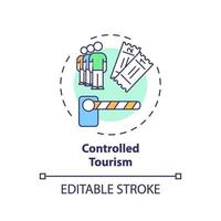 icono de concepto de turismo controlado vector