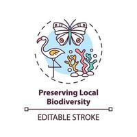 preservar el icono del concepto de biodiversidad local vector