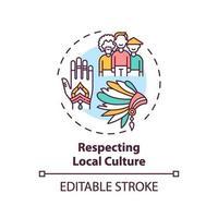 respetando el icono del concepto de cultura local vector