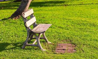 Chair with no people sitting on a lawn in a park photo
