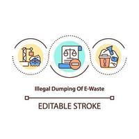 Illegal e-waste dumping concept icon vector