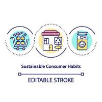 Sustainable consumer habits concept icon vector