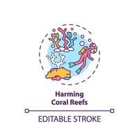 Dañando el icono del concepto de arrecifes de coral vector