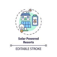 icono de concepto de complejos turísticos con energía solar vector