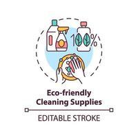 Icono de concepto de suministros de limpieza ecológica vector