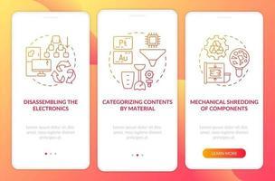 Pantalla de la página de la aplicación móvil de incorporación de reciclaje de e-scrap con conceptos vector