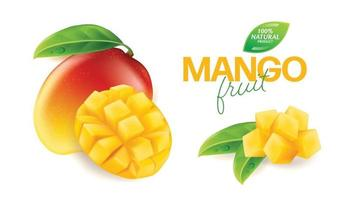 Fresh mango with slices and leaves illustration vector