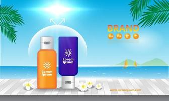 Advertising sunscreen cosmetics on wooden floor with blue sky and sea vector