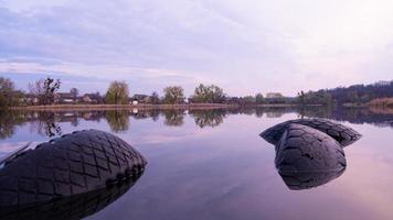 Beautiful morning lake landscape, suburban pond photo