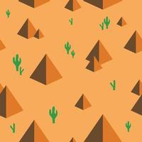 desierto con pirámides y cactus de patrones sin fisuras. lindo patrón de desierto para tela, ropa de bebé, fondo, textil, papel de regalo y otra ilustración decorativa. vector