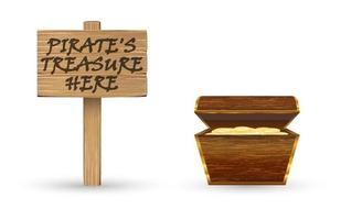 gold pirate treasure with wood board sign vector