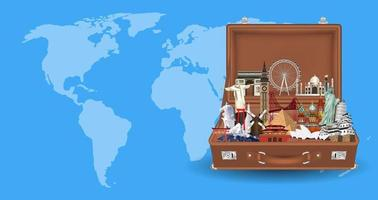 suitcase with travel landmarks on world map vector