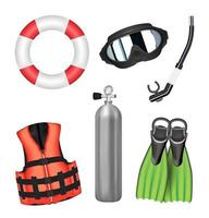 set of scuba diving tools on a white background vector