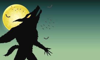 Hombre lobo aullando sobre fondo verde noche espeluznante vector
