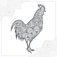 Chicken Mandala. Vintage decorative elements. Oriental pattern, vector illustration.