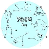 Collection yoga asana frog, hand sketch for textile, wrapping, wallpaper. vector