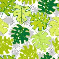 Hand drawn colourful seamless pattern. Tropical jungle leaves and various shapes. Abstract contemporary seamless pattern. Modern patchwork illustrations in vector. vector