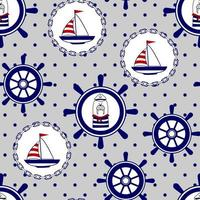 Seamless marine vector pattern with walrus, boat, helm. Prints for children's clothing, textiles, paper and web.