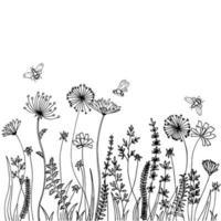 siluetas negras de hierba, picos y hierbas aisladas sobre fondo blanco. boceto dibujado a mano flores y abejas. vector