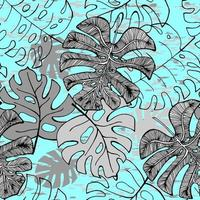Seamless pattern of ink hand drawn sketch tropical palm leaves. Greeting card, invitation for summer beach party. Vector illustration. Ideal for fabric, paper and web.