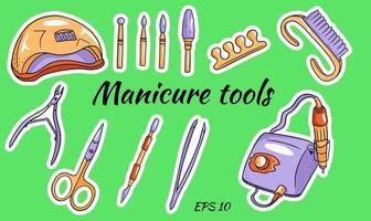 un conjunto de herramientas de manicura. herramientas para ferretería de manicura y pedicura. Aparatos para manicura, cortadores, lámpara ultravioleta. vector