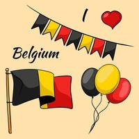 Belgium flag. Flags and balloons in the colors of belgium. Cartoon style. vector