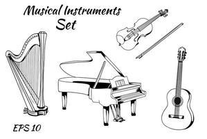 vector conjunto de instrumentos musicales. Conjunto de instrumentos de cuerda, piano, arpa, violín, guitarra, pegatinas vectoriales.