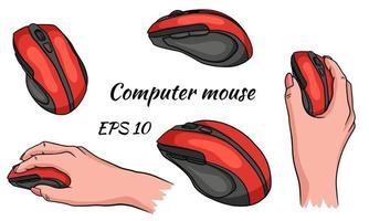 Computer mouse. Mouse in hand. A tool for managing your computer. Vector illustration isolated.
