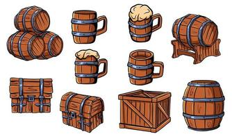 Wooden barrels, chests, beer or ale mugs. Wooden crafts. Box. Barrels for wine. Vector illustration isolated.