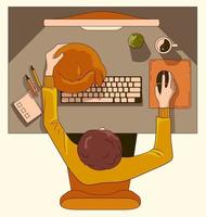 Workspace scene top view vector